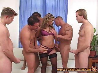 Lucky guys take turns at shacking up Liliane Tiger while she moans