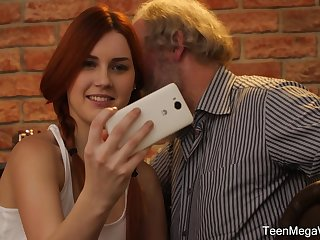 Cute teen with pigtails Charli Red pounded by an elder guy