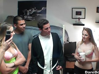 Ava Kelly shares cum with the brush slutty girlfriends at a college orgy