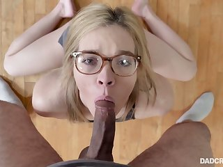 Flexible nerdy gal Katie Kush does splits almost while riding strong horseshit