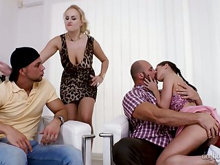 Muscular dudes swap naughty girlfriends for hardcore foursome sex
