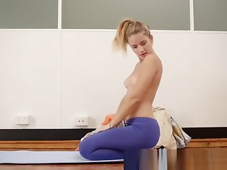 Girls Out West - Yoga girl toys the brush meaty cunt