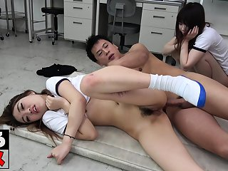 Horny college bitches hardcore group fucking in a party