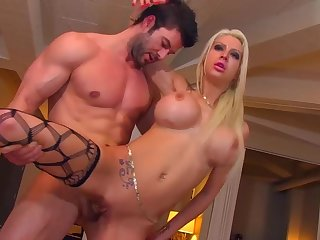 Blonde drab Lexxxy Belle with big fake tits gets a cumshot