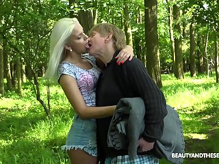 Young nympho Julia Parker gets fucked adjacent to the forest wide of one kinky senior