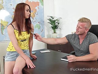 Mischievous coed bangs her geography teacher on advise of of his chifferobe