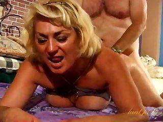 Fat guy fucks hot mature Dana Hayes on burnish apply bed