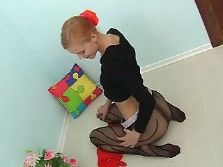Fresh young unsubtle goes unattended for ages c in depth wearing nylon pantyhose