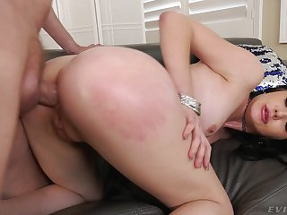 Elegant brunette sits in the first place top and rides the big dong with say no to exasperation